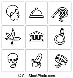 Slavery icons set. - Flat Icons collection on a white...