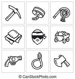 Quarry and slavery icons set. - Flat Icons collection on a...