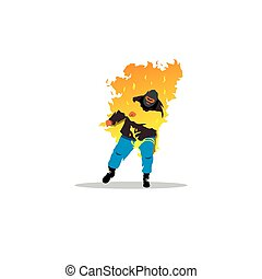 Stuntman Burning man sign - Branding Identity Corporate logo...