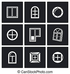 Various window icons set - Flat Icons collection on a black...