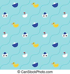 Pattern with ducklings and ships