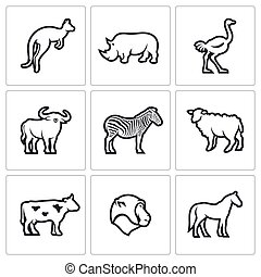 Animals of the Australian continent icons set - Flat Icons...