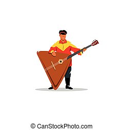 Russian balalaika and a man in traditional folk costume -...