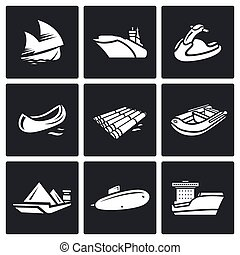 Water transport icons set - Flat Icons collection on a black...
