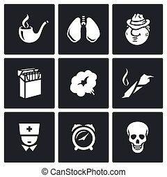 Smoking and effects on the body icons set. - Flat Icons...