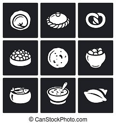 Russian traditional cuisine icons set.