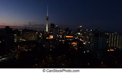 Auckland skyline at dusk - erial view of Auckland Financial...