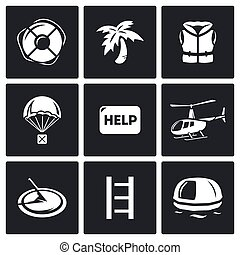 Rescue operation icons set - Flat Icons collection on a...