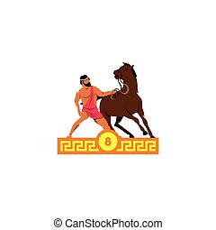 The eighth feat of Heracles. Diomedes horses. . - Branding...