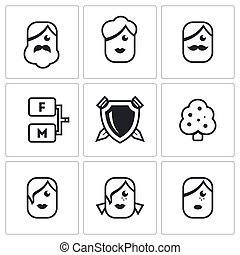 Family tree icons set - Flat Icons collection on a white...