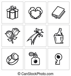 Gifts for women on holiday icons set. - Flat Icons...