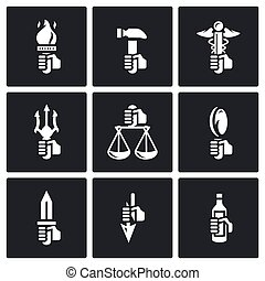 Symbols of the gods in Greek mythology icons set - Flat...