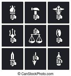 Symbols of the gods in Greek mythology icons set. - Flat...