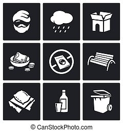 Homeless icons set. - Flat Icons collection on a black...