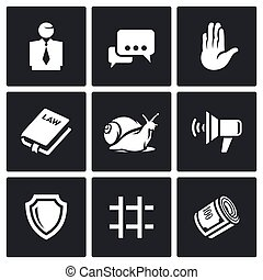 Lawyer and court hearing icons set - Flat Icons collection...