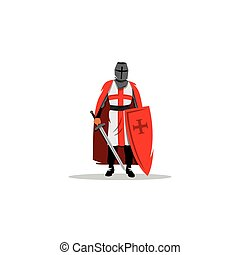 Knight sign. Crusader helmet with sword and shield.