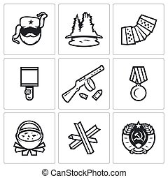 Guerrillas warrior icons set - Flat Icons collection on a...