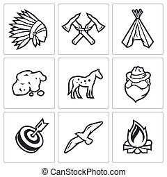 Indians Wild West and the Gold Rush icons set. - Flat Icons...