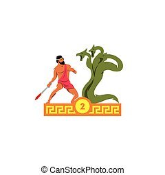The second feat of Heracles. Lernaean hydra. Vector Illustration.