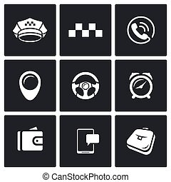 Taxi Service icons set. Vector Illustration.