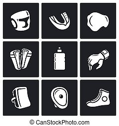 Sports Equipment for martial arts icons set Vector...