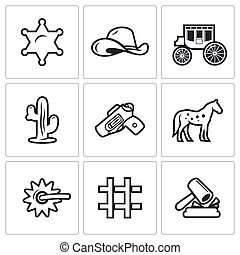 Justice in the wild west icons set. Vector Illustration.