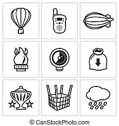 Aeronautics icons set Vector Illustration - Vector Isolated...