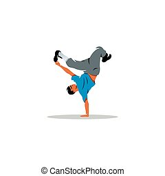 One hip hop acrobatic break dancer breakdancing young man...