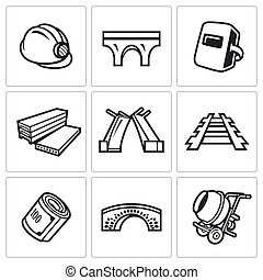 Bridge construction icons set. Vector Illustration. - Vector...