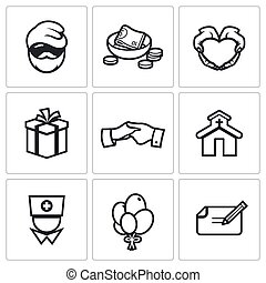 Charity Help the homeless and poor people icons set Vector...