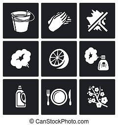 Cleaning service icons set. Vector Illustration.