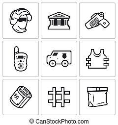 Security Bank and money transport icons set. Vector...
