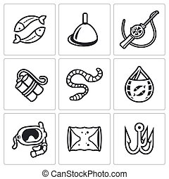 Fishing icons set Vector Illustration - Vector Isolated Flat...