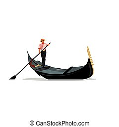 Venice gondola, gondolier rowing oar sign Vector...
