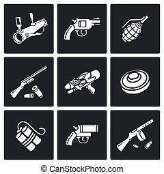 Various types of weapons icons set Vector Illustration -...
