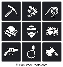 Quarry and slavery icons set Vector Illustration - Vector...