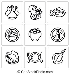 Lent celebration of Orthodox believers icons set. Vector...