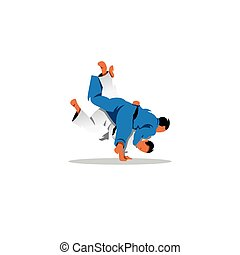 Judo sign. Two judoka fighting among themselves. Vector...