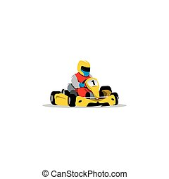 Kart racing sign Young race car driver in the helmet at...