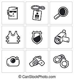 Security Service icons set. Vector Illustration.