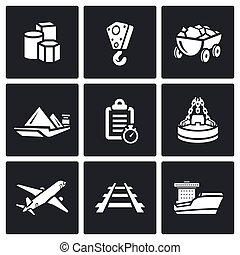 Delivery of goods in different ways icons set. Vector...
