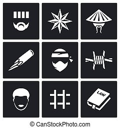 Criminal racial groups in prison icons set. Vector...