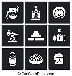 Russian, food, attraction, industry icons set Vector...