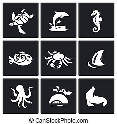 Inhabitants of the sea and ocean icons set. Vector...