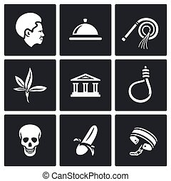 Slavery icons set. Vector Illustration. - Vector Isolated...