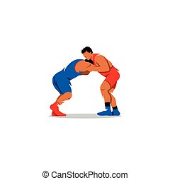 Greco Roman Wrestling sign. Sports duel of two fighters....