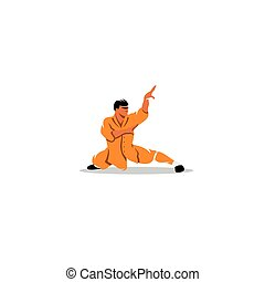 Shaolin monk sign Vector Illustration - Branding Identity...