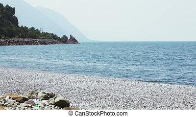Deserted beach - Pebble deserted beach on border of Georgia...