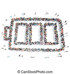 people shape battery cartoon - A group of people in the...
