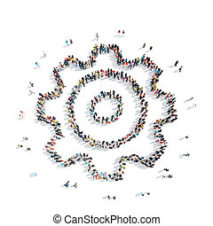 people shape cog cartoon - A group of people in the shape of...